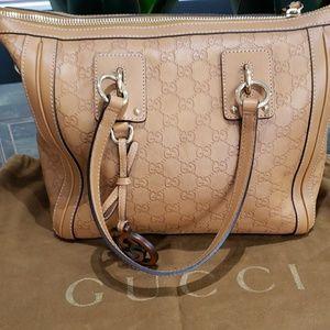 Gucci Guccissina leather cognac handbag
